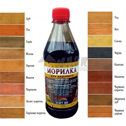 Морилка для деревини Старт НОВ 0,4 л горіхово-коричнева