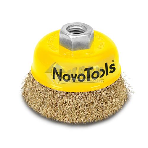Щітка дротяна чашка NovoTools 75 мм гофрований латунний дріт