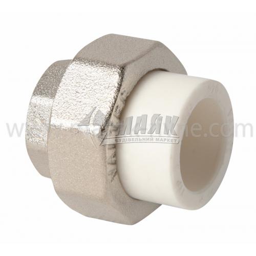 """З'єднувач поліпропіленовий роз'ємний VALTEC 20 мм х 1/2"""" внутрішня різьба білий"""