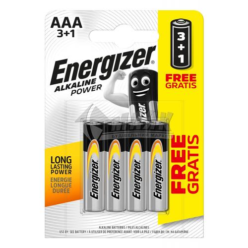Батарейки ENERGIZER AAA Alkaline Power лужна 3+1 шт