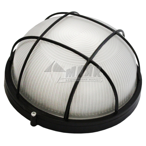 Світильник настінно-стельовий Екострум/ ІЕК НПП 1102 100Вт IP54 Е27 скляний круглий з решіткою чорний