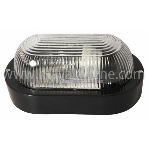 Світильник настінно-стельовий ІЕК НПП 2603А 60Вт IP54 Е27 пластиковий овальний без решітки чорний