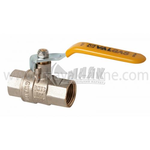 """Кран кульовий газовий VALTEC VALGAS 1/2"""" внутрішня-внутрішня різьба сталева ручка"""