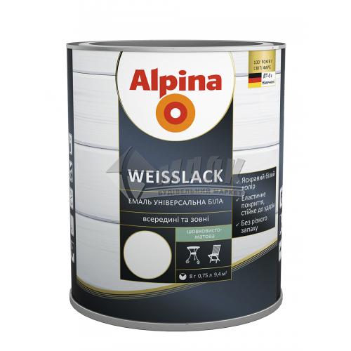 Емаль алкідна ALPINA WEISSLACK 0,75 л біла шовковисто-матова