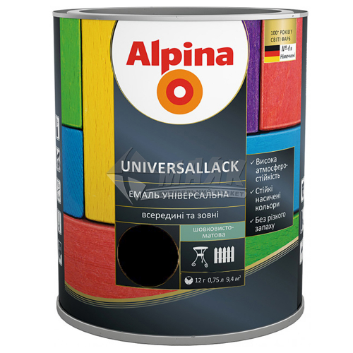 Емаль алкідна ALPINA UNIVERSALLACK 0,75 л чорна шовковисто-матова