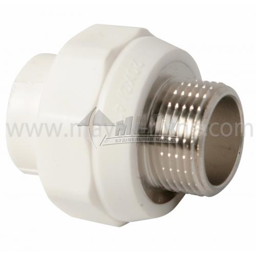 """З'єднувач поліпропіленовий VALTEC 20 мм х 3/4"""" зовнішня різьба білий"""