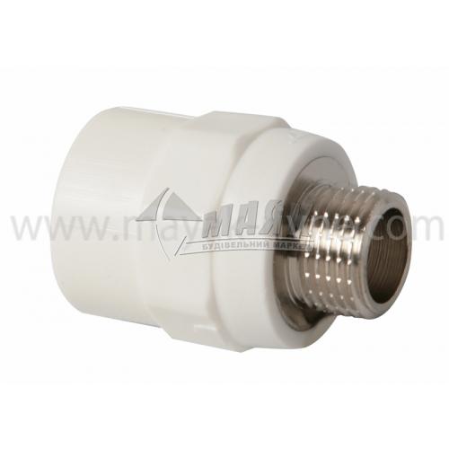 """З'єднувач поліпропіленовий VALTEC 25 мм х 1/2"""" зовнішня різьба білий"""