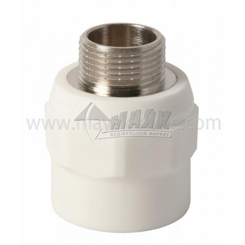 """З'єднувач поліпропіленовий VALTEC 32 мм х 3/4"""" зовнішня різьба білий"""
