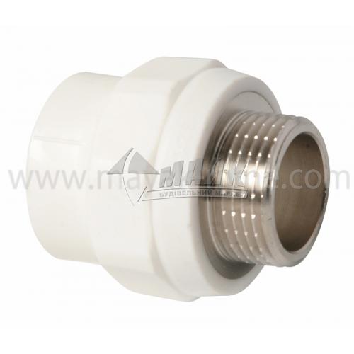 """З'єднувач поліпропіленовий VALTEC 32 мм х 1"""" зовнішня різьба білий"""