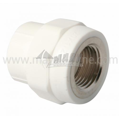 """З'єднувач поліпропіленовий VALTEC 20 мм х 1/2"""" внутрішня різьба білий"""