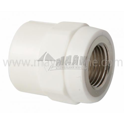 """З'єднувач поліпропіленовий VALTEC 25 мм х 1/2"""" внутрішня різьба білий"""