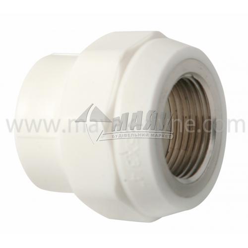 """З'єднувач поліпропіленовий VALTEC 25 мм х 3/4"""" внутрішня різьба білий"""