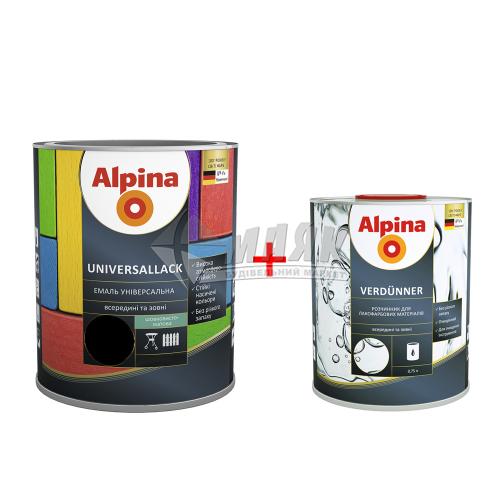 Емаль алкідна ALPINA UNIVERSALLACK 2,5 л чорна шовковисто-матова + Розчинник ALPINA VERDUNNER 0,75 л