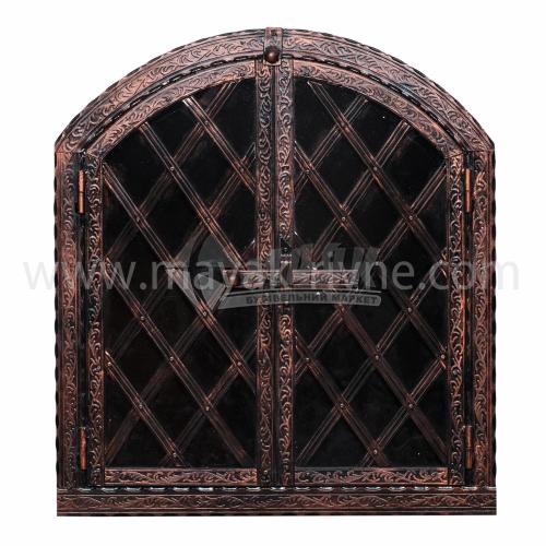 Дверцята для печі металеві декоративні Арка 680×610 мм 12,3 кг