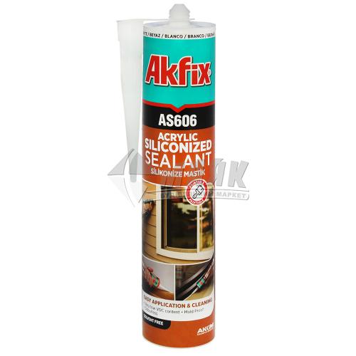 Герметик акриловий силіконізований Akfix AS606 310 мл білий