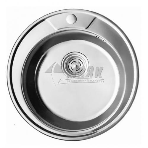 Мийка кухонна нержавіюча кругла Cristal Decor 7104 490×180 мм