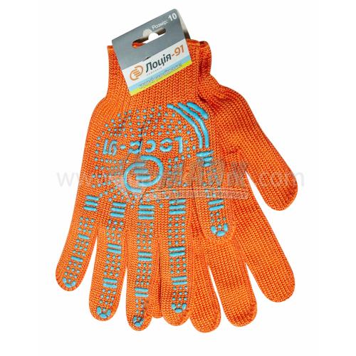 Рукавиці трикотажні робочі Лоція-91 №109 XL (10) покриття ПВХ крапка помаранчеві