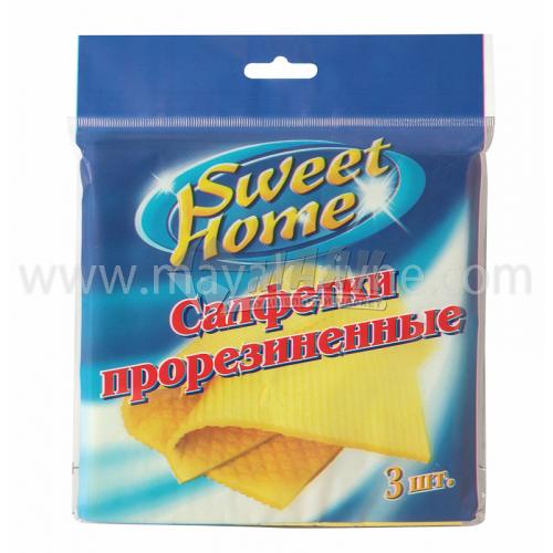 Серветки для прибирання целюлоза прогумовані Sweet Home 3 шт