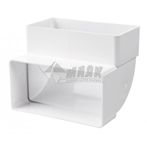 Коліно вентиляційне плоске вертикальне DOSPEL 007-0222 90° 110×55 мм
