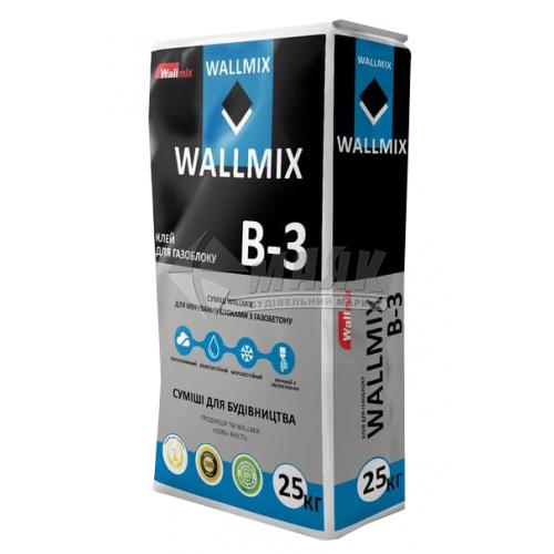 Клей для мурування блоків з ніздрюватого бетону Wallmix B-3 Зима 25 кг