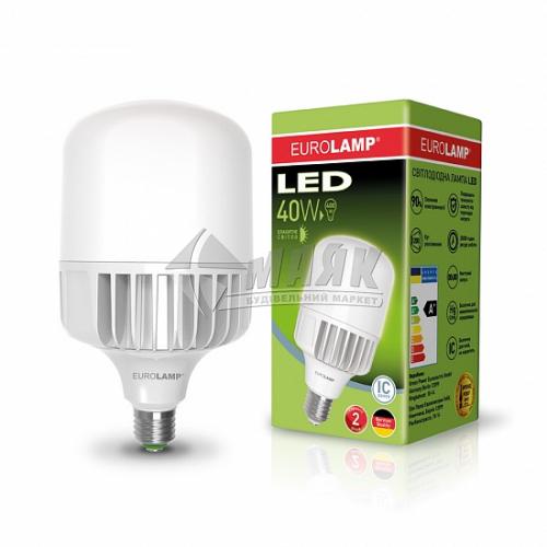 Лампа світлодіодна циліндр EUROLAMP 40Вт Е40 HP 6500°К (LED-HP-40406)
