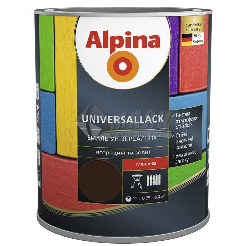 Емаль алкідна ALPINA UNIVERSALLACK 0,75 л шоколадна глянцева
