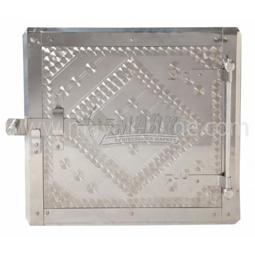 Дверцята для топки нержавіюча сталь з відбивачем 290×270 мм 3,89 кг