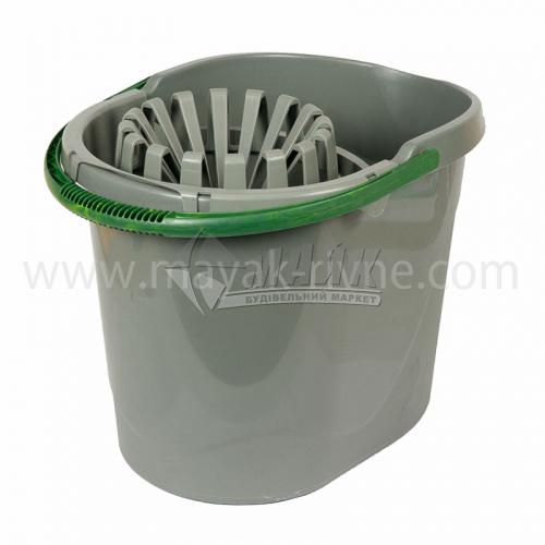 Відро пластикове господарське прямокутне з насадкою для віджиму 14 л в асортименті