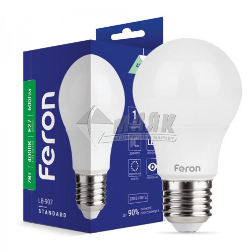 Лампа світлодіодна класична (груша) Feron 7Вт Е27 А60 4000°К (LB-907)
