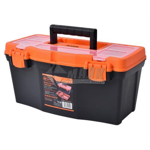 """Ящик для інструменту з лотком Tactix 16"""" 400×210×200 мм металеві замки пластиковий"""