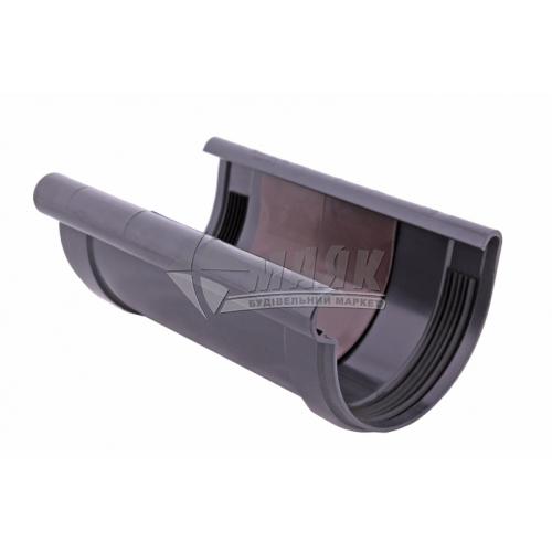 Муфта (з'єднувач) ринви з прокладкою пластикова Profil 90 мм 90/75 графіт