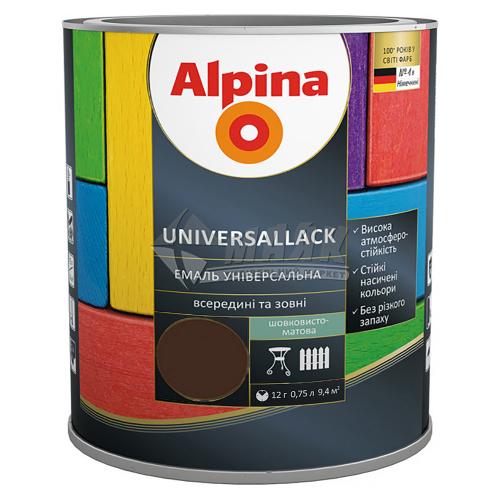 Емаль алкідна ALPINA UNIVERSALLACK 0,75 л темно-коричнева шовковисто-матова