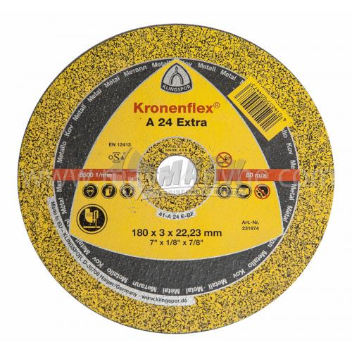 Диск абразивний відрізний по металу Klingspor Kronenflex A 24 Extra 180×3,0×22,23 мм