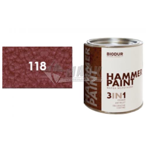 Емаль антикорозійна Biodur 3в1 0,7 л 118 молоткова оксидно-червона