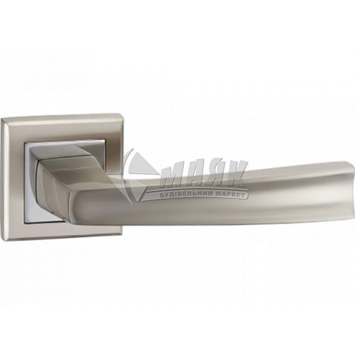 Ручки дверні на розетці LINDE А-1355 SN/CP нікель матовий/хром полірований