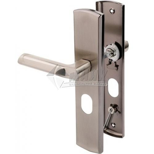 Ручки дверні на планці для вхідних дверей LINDE MD-1000L SN нікель матовий