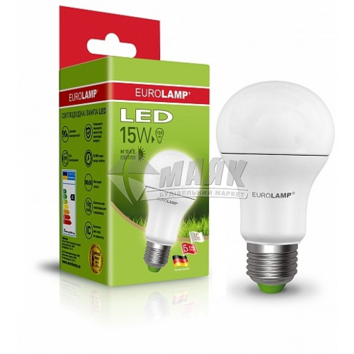 Лампа світлодіодна класична (груша) EUROLAMP 15Вт Е27 А65 3000°К (LED-А70-15272(Р))