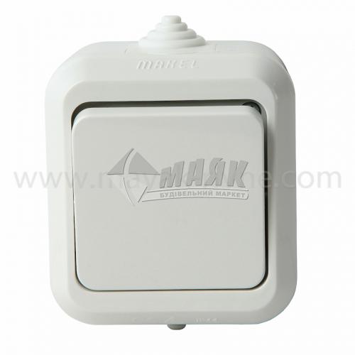 Вимикач одноклавішний Makel IP44 зовнішній білий