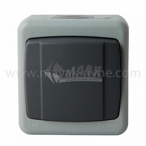 Вимикач одноклавішний Makel IP55 зовнішній сірий