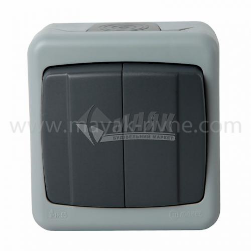 Вимикач двоклавішний Makel IP55 зовнішній сірий