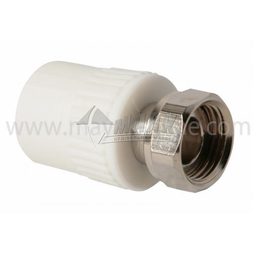 """З'єднувач поліпропіленовий з накидною гайкою VALTEC 20 мм х 1/2"""" білий"""