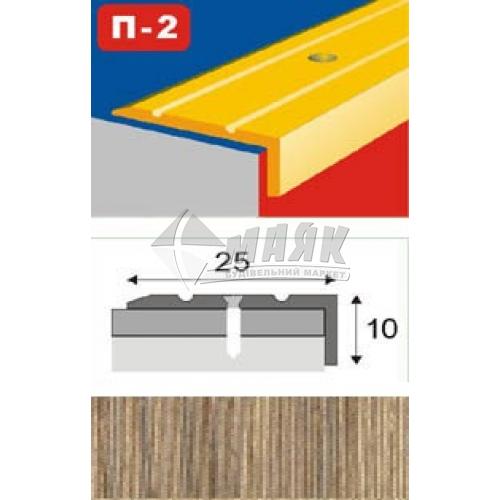 Планка поріжна ламінована КСК Профіль П-2 кутова 23×9×1800 мм дуб сірий
