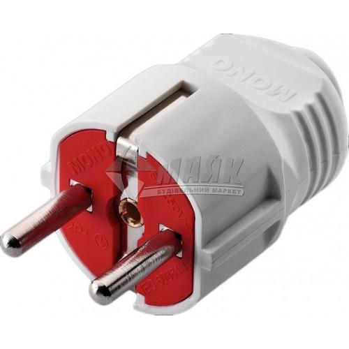 Вилка Mono Electric 16А із заземленням біло-червона