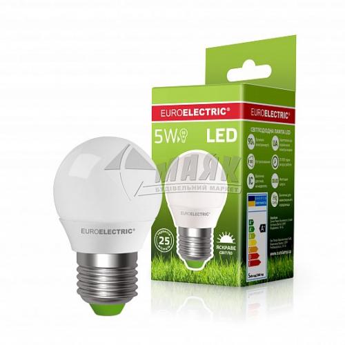 Лампа світлодіодна куля EUROELECTRIC 5Вт Е27 G45/Р45 4000°К (LED-G45-05274(EE))