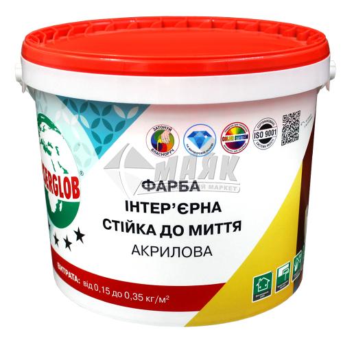 Фарба інтер'єрна Anserglob Стійка до миття акрилова 7 кг біла матова
