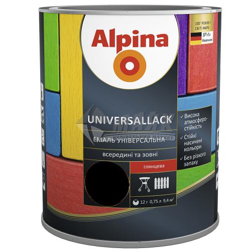 Емаль алкідна ALPINA UNIVERSALLACK 0,75 л чорна глянцева