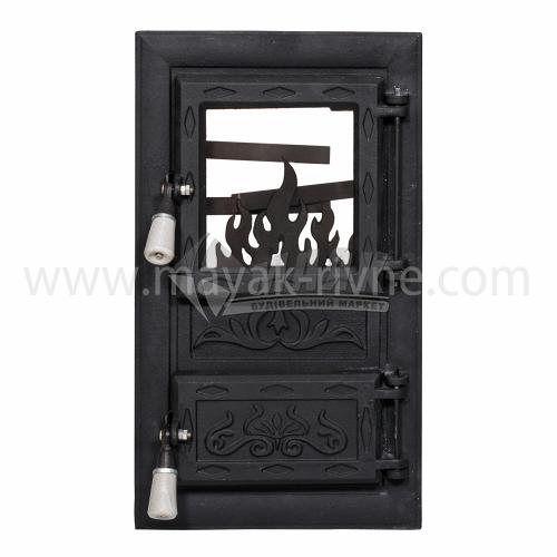 Дверцята для каміна прямокутні зі склом Полум'я 310×520 мм 10,28 кг