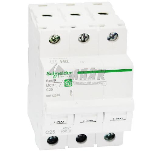 Вимикач автоматичний Schneider RESI9 3Р 25А 6кА С