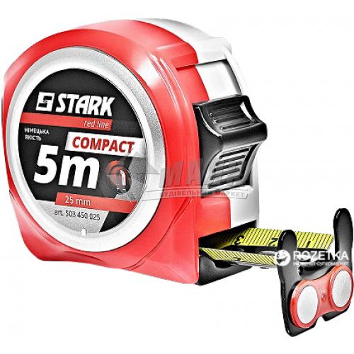 Рулетка Stark Compact пластиковий корпус 3 функції 5 м×25 мм з магнітом