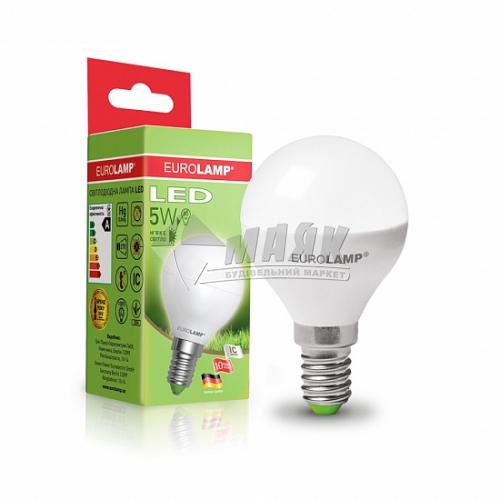 Лампа світлодіодна куля EUROLAMP 5Вт Е14 G45/Р45 3000°К (LED-G45-05143(D))